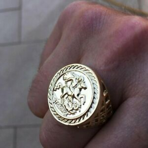 New men's 9ct Gold Filled Sovereign Ring All Sizes Bling Chunky