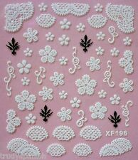 3D Nail Art Lace Stickers Decals White Black Lace Flowers Daisies Gel Polish 196