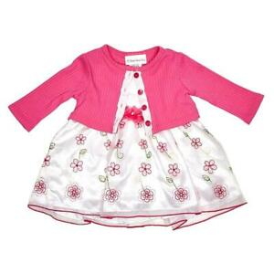 """NEW Youngland Baby Girls Size 12M """"PINK WHITE FLORAL"""" 3pc Cardigan Dress"""
