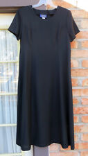 Willow Ridge Short Sleeve Calf Length  Polyester Black Dress Size 14 U.S. Made