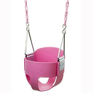 Heavy-Duty High Back Full Bucket Toddler Swing Seat w/Chain Fully Assembled Pink