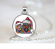 Christmas Cat And Dog PENDANT NECKLACE Chain Glass Tibet Silver Jewellery