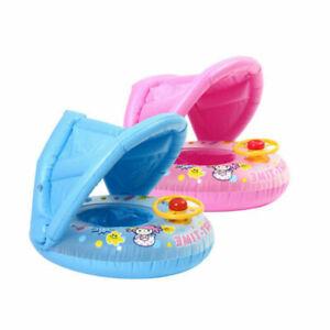 Baby Kinder Schwimmring mit Abnehmbarem Sonnendach Schwimmhilfe Schwimmsitz Neu