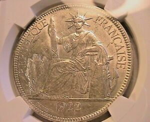 1922-H French Indochina 1 Piastre NGC MS-61 Choice BU Lustrous White 1P FIC Coin