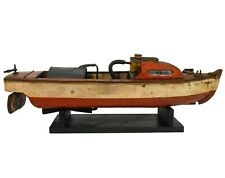 RARE EARLY 20TH C AMERICAN VINT PNTD WOODEN MODEL STEAMBOAT POND YACHT, W/STAND
