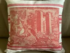 More details for antique french toile de jouy and linen ticking cushion