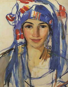 Zinaida Serebriakova Self portrait wearing a scarf Poster Giclee Canvas Print