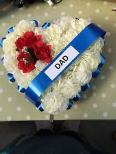 Red White Blue Dad  FAUX SILK  FLOWER FUNERAL WREATH TRIBUTE