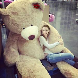 "78"" 200 cm Brown Giant Skin Teddy Bear Big Stuffed Toy Christmas Gift Hot B3"