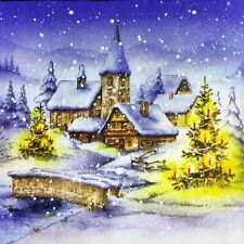 3 x Single Paper Napkins For Decoupage Christmas Eve Willage Houses in Snow M984