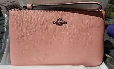 COACH F57465 LARGE WRISTLET IN CROSSGRAIN LEATHER BLUSH PINK SILVER HARDWARE