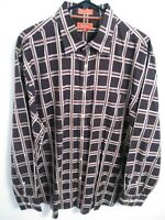 Faconnable Jeans Mens XL Brown Burgundy Plaid Long Sleeve Button Up Shirt
