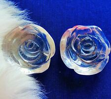 Beautiful carved clear glass lot of two cabochons  for crafts     tr
