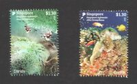 SINGAPORE 2017 INDONESIA JOINT ISSUE (CORALS) COMP. SET OF 2 STAMPS IN MINT MNH