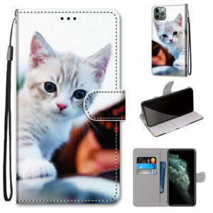 Cute Cat Cartoon Flip Antislip Card Wallet Bracket Case Cover For Various Phone