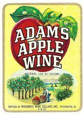 Vintage Adams Apple Wine Label  Richard's Wine Cellars Inc. Petersburg,Virginia