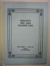 BULLETIN DES AMIS D'ANDRE GIDE N° 93 JANVIER 1992 VOL XX - XXe ANNEE TBE
