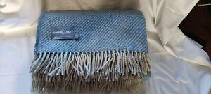 100% Wool Sofa Bed Blanket DIAGONAL STRIPE PETROL BLUE THROW