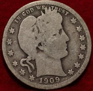 1909  Philadelphia Mint Silver Barber Quarter
