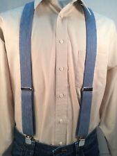 "New, Men's Blue Denim, XL, 1.5 "", Adj. Suspenders / Braces, Made in the USA"
