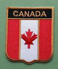 NATIONAL FLAG COUNTRY SHIELD SEW ON / IRON ON EMBROIDERED PATCH:- CANADA (a)
