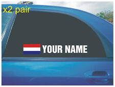 YOUR NAME RALLY RACE CAR WINDOW STICKER DECAL NETHERLAND FLAG IN WHITE X2