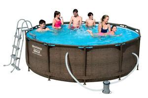 Bestway Swimming Frame Pool Komplett-Set 366x100cm 9150L Rattan Optik Neu 56709
