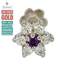 Real Diamonds & Amethyst Flower Tragus Earring Nose Lip Piercing Ring Stud Screw