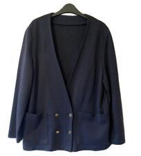 ST MICHAEL Vtg 80s Women's UK 14 M Navy Blue Boxy Jacket Blazer Double Breasted