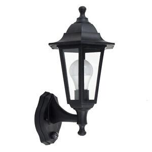 Traditional Style Black Outdoor Coach Wall Lantern PIR Sensor IP44 Garden Lamp
