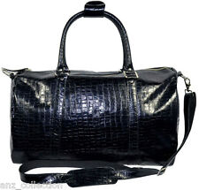 Black Duffle Pro Sports Weekend Holdall Travel Gym Croc Print Real Leather Bag
