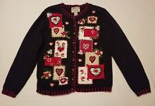 Heirloom Collectibles Ladies size medium cardigan with hearts and flowers