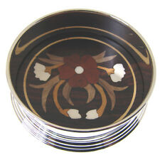 SILVER PLATED WINE COASTER. SILVER WINE BOTTLE COASTER WITH INLAID ROSEWOOD