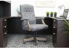 Cute Desk Chair Upholstered Grey Executive Furniture High Back Arms Wood Frame