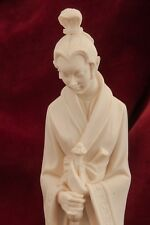 Vintage Signed A.Giannelli Italian Carved Alabaster Sculpture of Lady and Mace