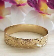 15mm Gold Hawaiian Bracelet, Hawaiian Heirloom, Engraved Bangle, Size 10