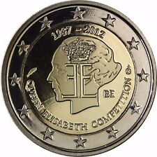 BELGIQUE 2 euros Queen Elisabeth musique concurrence pièce commémorative 2012 plaque polie