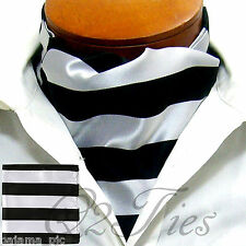 MEN'S BLACK SILVER Stripes Slipknot Style Ascot Cravat And Hanky 2pc Set