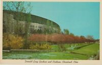 Cleveland Stadium post card showing the Donald Gray Gardens.