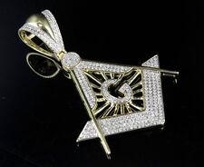 "Men's 10K Yellow Gold Real Diamond Masonic Logo Emblem Charm Pendant 1.10ct 2.1"""