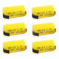 6 pcs 2/3AA 2/3 AA 400mAh NiCd Ni-Cad 1.2V Rechargeable Battery Cell US Stock