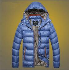 NEW Men's Cotton Down Outwear Jacket Hooded Warm Winter Parka Blue Size M-3XL