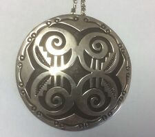 """Vintage Navajo 2.5"""" Pendant Handwork Silver Overlay Signed R.B. Necklace is 24"""""""