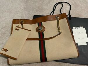 New Gucci Rajah Large Tote Bag Canvas Calfskin Beige w/ Removable Pouch Wallet