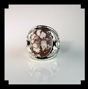 Navajo Sterling and Wild Horse Magnesite Men's Ring     Size  9 1/2