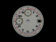 Vintage Chronograph Watch Shiny White Dial Valjoux 7765 Date Men's New