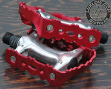 """Red Alloy FiXiE Road Bike Pedals 9/16"""" Vintage Fixed Gear Track Cruiser Bicycle"""