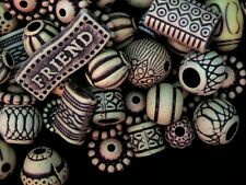 50g Mixed Style & Size Acrylic Beads - Ethnic Wooden Style Beads Kids U67