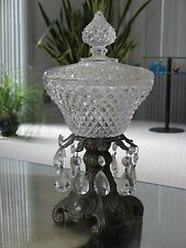 "Vtg. Hand Cut Thick Crystal Bowl w/ Lid Prisms Gold Bronze Stand 13"" x 6.5"""
