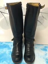 SENDRA Black Leather Side Zip Cowboy Styled Knee High Boots SPAIN -7 W